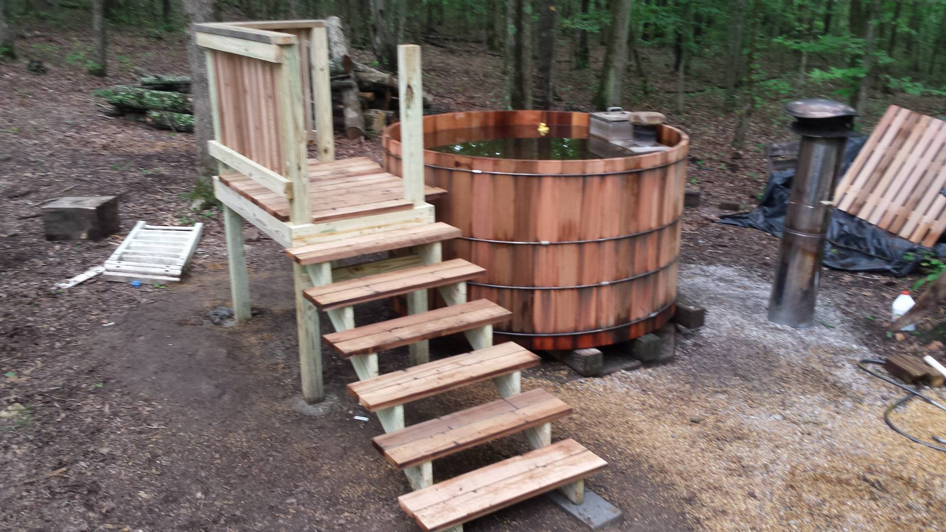 Spa Area Wood Fired Hot Tub
